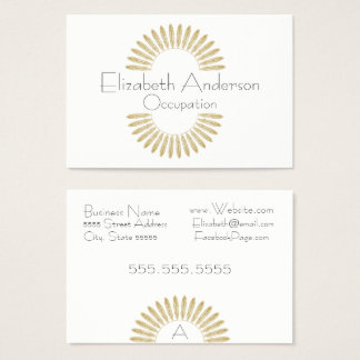 Boho Feather Monogram Professional Business Card