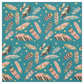 Boho Feather Pattern on Teal Fabric