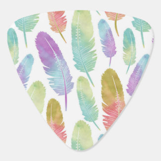 Boho Feather Pattern Rainbow Watercolor Plectrum