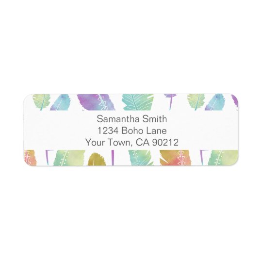 Boho Feather Pattern Rainbow Watercolor Return Return Address Label