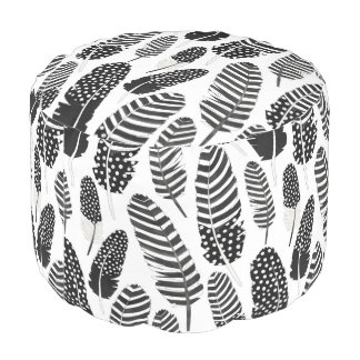Boho Feather Pattern Watercolor Black and White Pouf