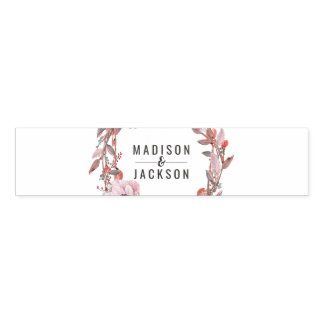 Boho Feather Peach Floral Wreath Wedding Monogram Napkin Band