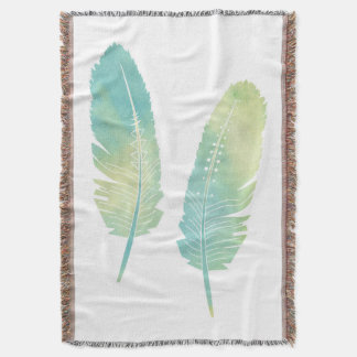 Boho Feather Watercolor Green and Blue