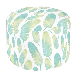 Boho Feather Watercolor Green and Blue Pattern Pouf