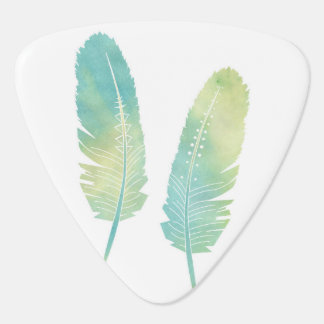 Boho Feather Watercolor Green and Blue Plectrum