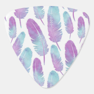 Boho Feather Watercolor Purple and Blue Guitar Pick