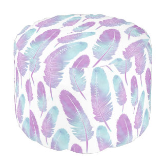 Boho Feather Watercolor Purple and Blue Pouf