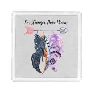 Boho Feathers and Arrow Motivational Saying Acrylic Tray