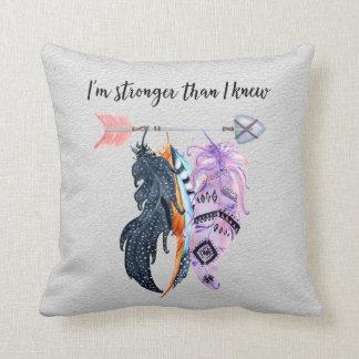 Boho Feathers and Arrow Motivational Saying Cushion