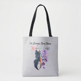 Boho Feathers and Arrow Motivational Saying Tote Bag
