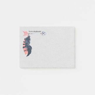 Boho Feathers and Arrow Personalised Post-it Notes