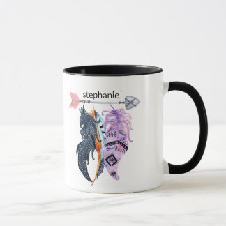 Boho Feathers and Arrow Personalized Mug