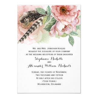 Boho Feathers and Flowers Reception Only 13 Cm X 18 Cm Invitation Card