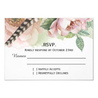 Boho Feathers and Flowers RSVP 9 Cm X 13 Cm Invitation Card