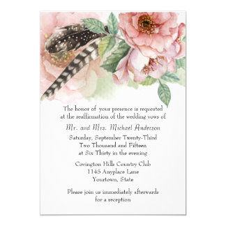 Boho Feathers and Flowers Vow Renewal 13 Cm X 18 Cm Invitation Card