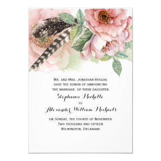 Boho Feathers and Flowers Wedding 13 Cm X 18 Cm Invitation Card