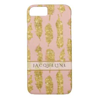 Boho Feathers Gold Glitter Look Blush Watercolor iPhone 7 Case
