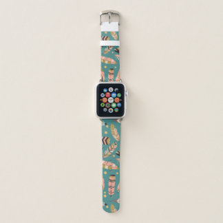 Boho Feathers on Teal Pattern Apple Watch Band