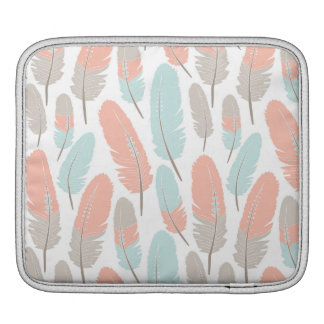 Boho Feathers Pattern Apricot Blue and Grey iPad Sleeve