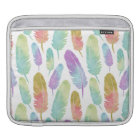 Boho Feathers Pattern Rainbow Watercolor iPad Sleeve