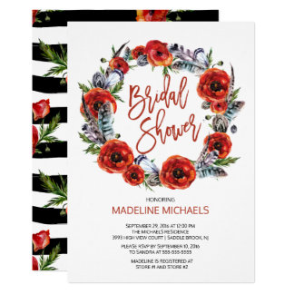 Boho Feathers Poppy Floral Fall Bridal Shower Card