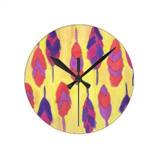Boho Feathers Round Clock