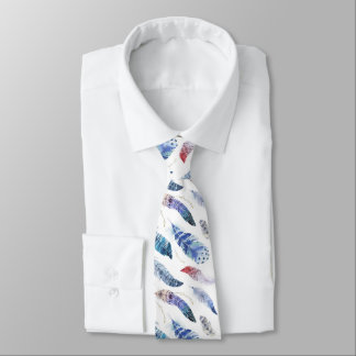 Boho Feathers Watercolor Pattern Tie
