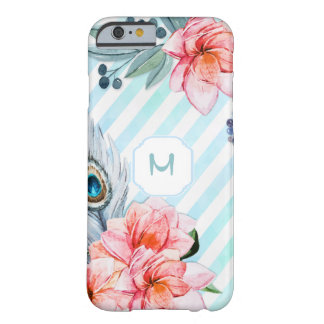 Boho Feathers Watercolor Stripe Floral Barely There iPhone 6 Case