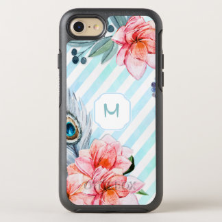 Boho Feathers Watercolor Stripe Floral OtterBox Symmetry iPhone 7 Case