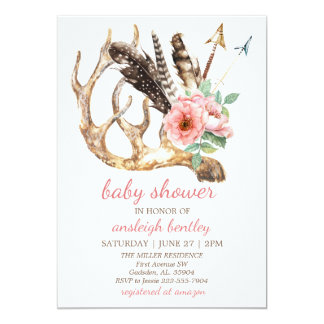 Boho Floral and Antler Baby Shower Invitation