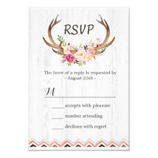 Boho Floral Antler Rustic White Wood Wedding RSVP Card