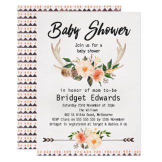 Boho Floral Antlers Neutral Baby Shower Invitation