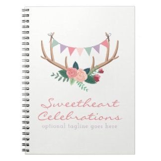 Boho Floral Antlers & Shabby Roses Party Bunting Notebooks