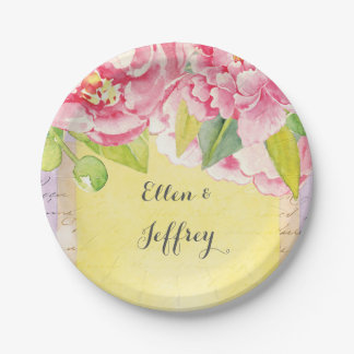 Boho Floral Bridal Shower or wedding with peonies Paper Plate