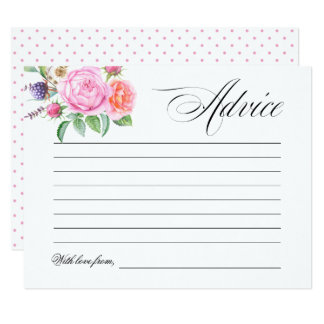 Boho Floral Bridal Shower Wedding Advice Card