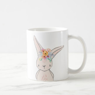 Boho Floral Bunny Rabbit Coffee Cup Mug