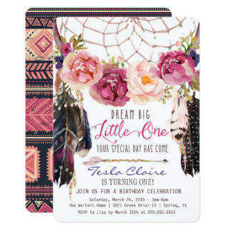 Boho Floral Dreamcatcher 1st Birthday Invitation