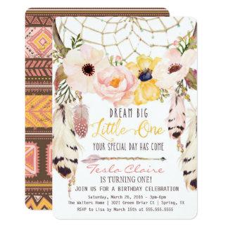 Boho Floral Dreamcatcher First Birthday Invitation