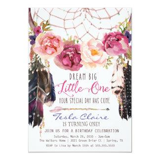 Boho Floral Dreamcatcher Watercolor First Birthday 13 Cm X 18 Cm Invitation Card