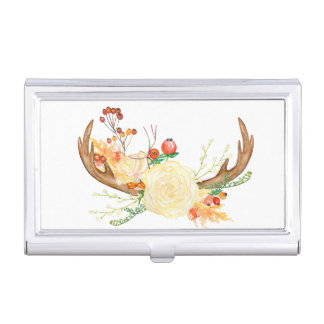Boho Floral Fall Antlers Business Card Holder