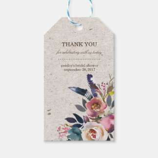 Boho Floral Feather Rustic Shower Favor Tag