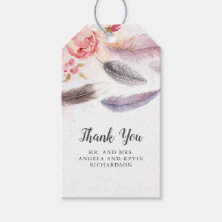Boho Floral Feathers Gift Tags