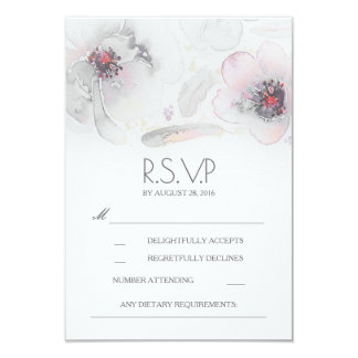 Boho Floral Feathers Watercolor Grey RSVP Card
