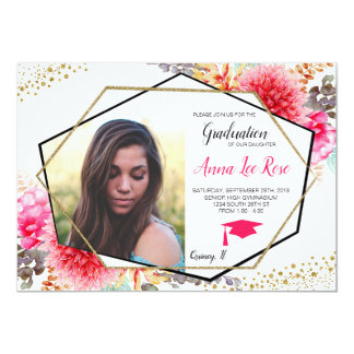 Boho Floral Geometric Gold Graduation Invitation