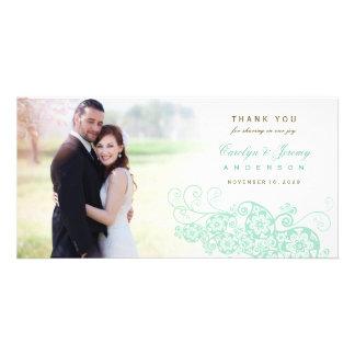 Boho Floral Paisley Wedding Thank You Photo Card