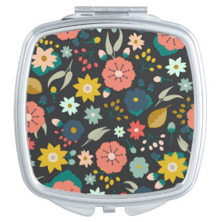 Boho Floral Patterned Mirror Travel Mirror