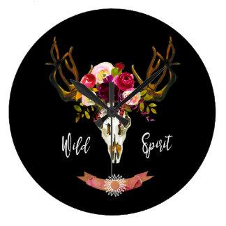 Boho Floral Skull Bohemian Flower Hippie Gift Bull Large Clock