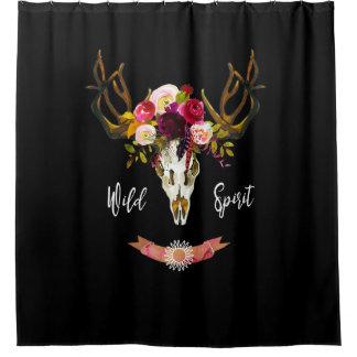 Boho Floral Skull Bohemian Flower Hippie Gift Bull Shower Curtain