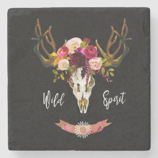 Boho Floral Skull Bohemian Flower Hippie Gift Bull Stone Coaster