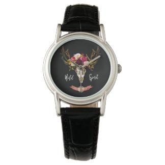 Boho Floral Skull Bohemian Flower Hippie Gift Bull Watch